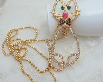 Big Kitty Cat Colorful Rhinestone Pendant Necklace