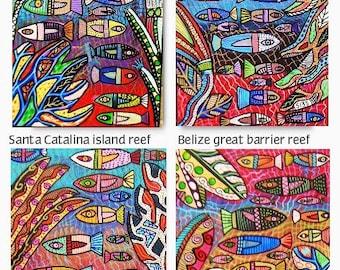 Great Talavera Coral Fish Reef )( Lot of 4 - SILBERZWEIG ORIGINAL PAINTINGS - Folk Art, Great Barrier Reef, Sea, Tropical Fish, Seaweed, Eco