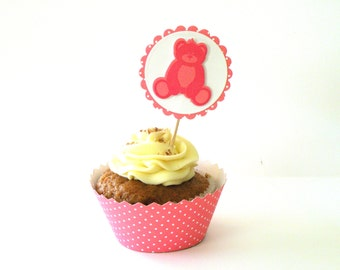 8 Teddy Bear Cupcake Toppers and Cases