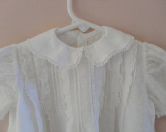 Vintage Handmade Baby Dress Gown White