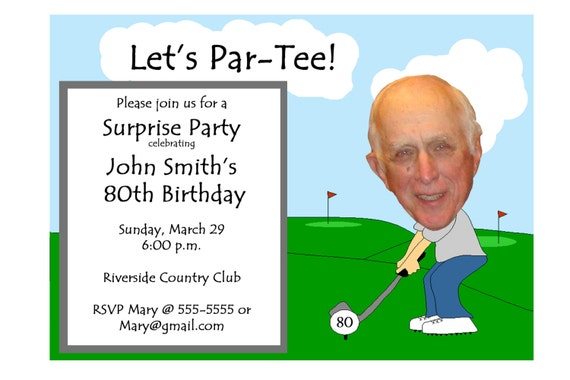 Golf Themed Funny Unique Retirement Invitation or 30th 40th