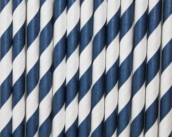 Navy Blue Striped Paper Straws