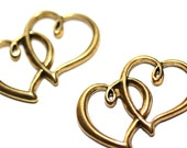 10pc Heart Antique Brass Finished /Braceletrs/s and Necklaces Connectors/19x32mm