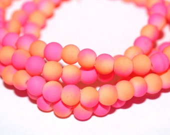 100pc Pink Loose Beads Rubberized/Basketball wives inspired Bracelet /Necklace Beads/6mm