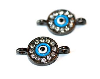 4pc Eye Rhinestone Connector / Blue Black/Bracelet Connector/21x13mm