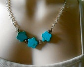 Necklace Star Shaped Turquoise Beads With Silver Etched Beads   Curb Chain Gift