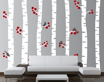 Large Birch Tree Wall Decal Forest Nursery Vinyl Sticker with Birds and Leaves (7 trees) 7ft tall 1192