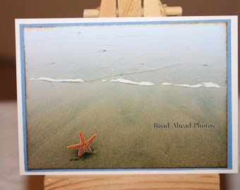 ACEO, ATC, art, photograph, beach, starfish Artist Trading Card