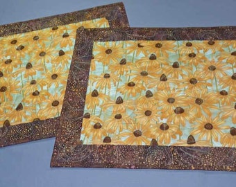 Placemats Chocolate Batik Brown Eyed Susan Sunflower Table Mat Pair