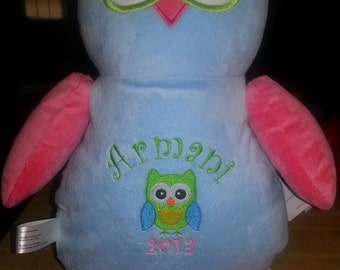 Stuffed animal - Personalized Owl  baby gift - child present - keepsake