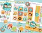 TWIN Owl Baby Boy and Girl Shower DIY Party Printables Package. Bright colors with twins. Fun chevron pattern.