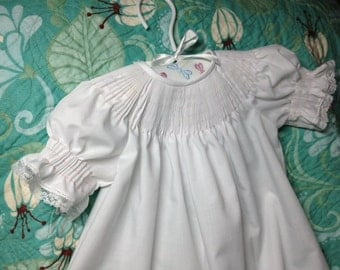 Bishop dress with lace ready to smock hand made infant toddler girl