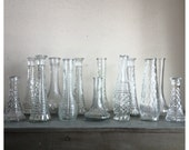 SALE 35 Crystal cut glass vases /  instant vase collection / 35 vintage vases / supply bud vases / vintage wedding / Boho wedding