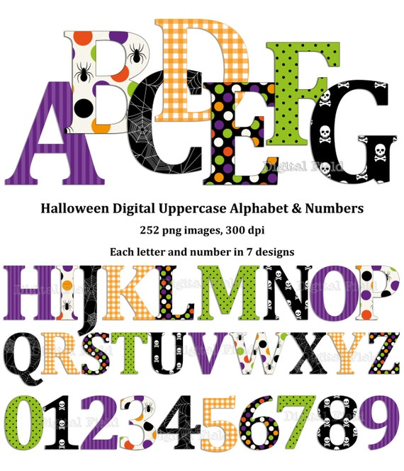 Items similar to Halloween uppercase alphabet and number ...
