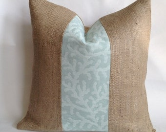 Seafoam Green Coral Fabric and Burlap Pillow Cover