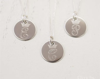 crown single initial engraved stainless steel charm necklace