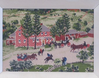Grandma Moses Barkcloth Print, Grandma Moses, Grandma Moses Print, The Checkerboard House, Framed Print