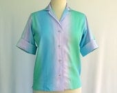 Mid Century Vintage Blouse -- Blue / Green / Lilac -- Scooter Mod / Bowling Shirt