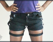 Strapped Black Denim Shorts, Patented Leather Panel, Harness, Alternative Clothing, Cynt D B