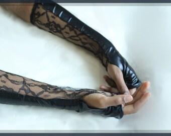 Black Fingerless Reversible Gloves, Lace and Metallic Spandex Goth, Punk, Steampunk, Cynt D B