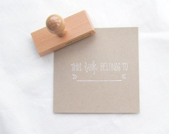 Bookplate Stamp - This book belongs to - Ex Libris - hand lettered bookplate - B0001