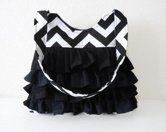 Chevron Purse or Diaper Bag with Ruffles for Boy or Girl Made To Order Monogram