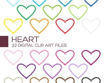 Valentine Heart Clipart for Personal & Commercial Usage - 22 digital hearts / 2x1.5 inches - A80011