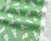 Cotton Fabric Sweet Rabbit - Green - By the Yard 51263