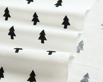 Simple Black and White Patterns Black Trees Cotton Fabric - Northern Europe Style - Christmas Fabric By the Yard 67625