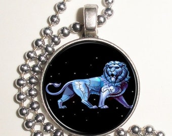 Leo Zodiac Horoscope Altered Art Photo Pendant, Earrings and/or Keychain Round, Silver and Resin Charm Jewelry