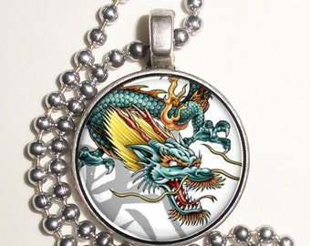 Green and Yellow Dragon Altered Art Photo Pendant, Earrings and/or Keychain Round, Silver and Resin Charm Jewelry