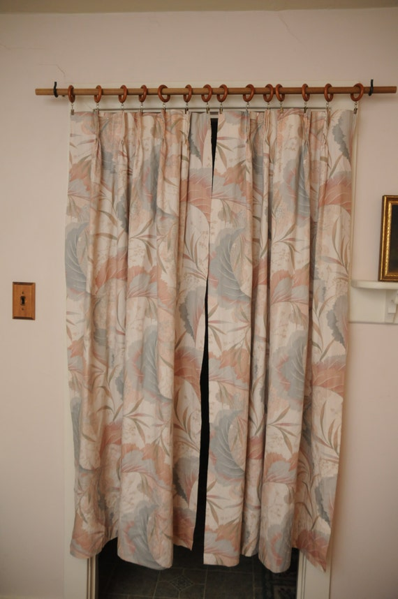 Vintage Curtain Panels 1980s Peach Gray Modern