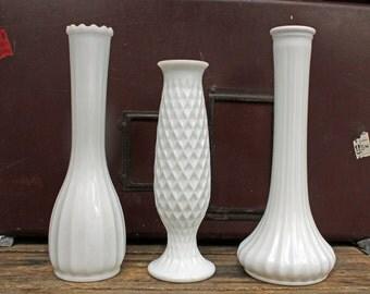 Vintage Milk Glass Vase Trio