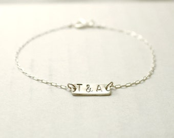 Silver initial bracelet - personalized tag on sterling silver - hand stamped custom