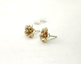 Gold flower earrings - blossom studs - sterling silver post - gifts for her