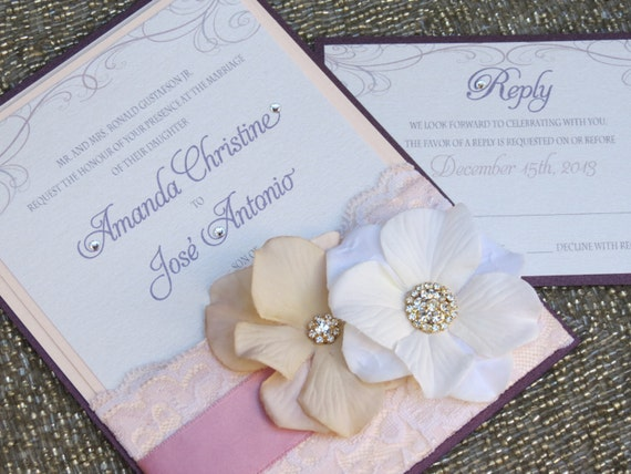 Vintage Glam Wedding Invitations: VINTAGE GLAMOUR POCKET Lace Wedding By Peachykeenevents On