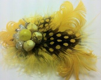 Yellow & Black Spotted Guinea Feather Hair Clip Fascinator Hand Crafted by Upcycled Portland Poppy
