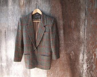 Giorgio Sant' Angelo wool blazer lined blazer womens plaid blazer houndstooth jacket brown red green lined blazer