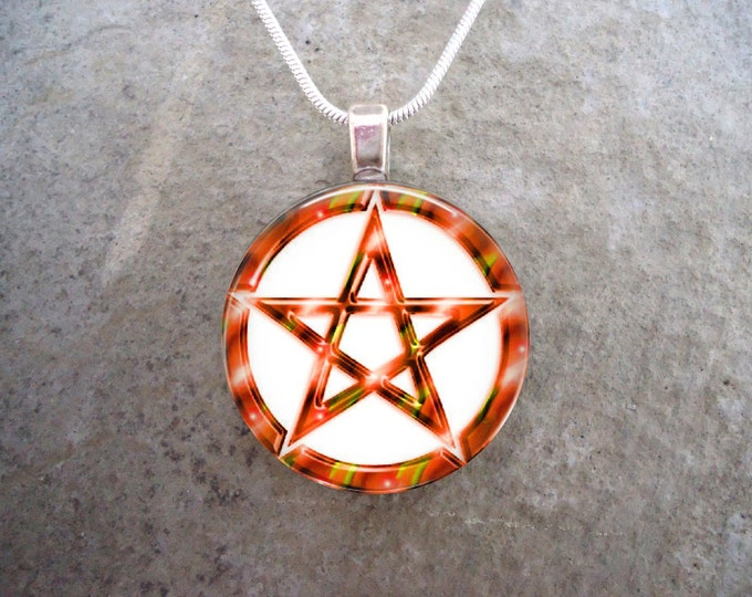 Wiccan Pentacle Jewelry - Glass Pendant Necklace - White and Orange - RETIRING 2017