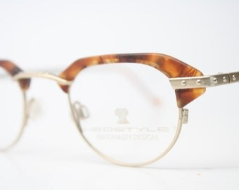 Vintage Glasses Frames Gold Tortoise Unique Shaped Eyeglass Frames 1980s Retro Eyeglasses