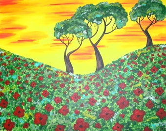 Custom Poppy Painting, Poppy Field and Trees, Poppies Painting, Made to Order Art, Personalized Canvas, Poppy Wall Decor, Canvas Wall Art