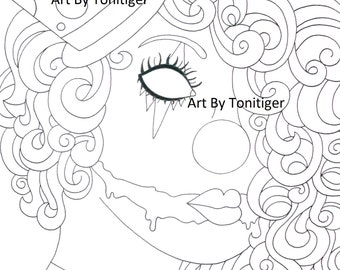 Instant Digital Download Coloring Page Scary Clown Girl Lineart Why So Serious Downloadable Art Black and White Artwork Drawing Halloween