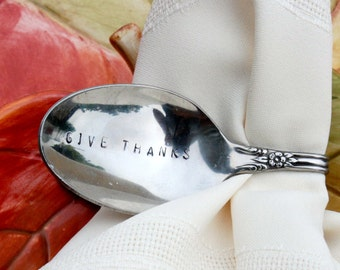 GIVE THANKS Napkin Holder Vintage Hand Stamped Bent Spoons Set of 6-Perfect for the Thanksgiving Table
