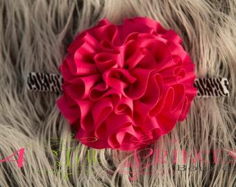 zebra print FOE headband with a hot pink ribbon flower , handmade , flower headband , pink flower , girls headband , large flower headband