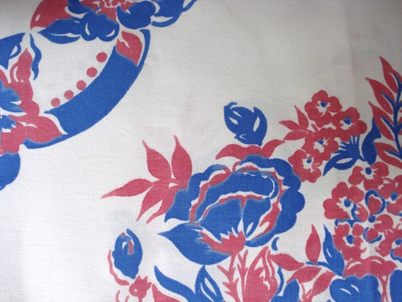 "Vintage Table Cloth: Shabby Chic, Mid-Century, Red & Blue, 42"" x 42"""