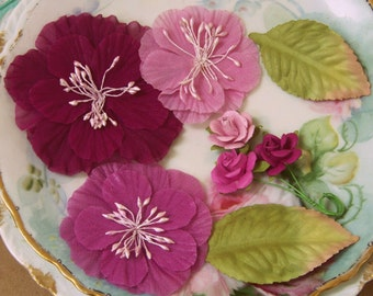 Purple Scrapbook Flowers, Paper Flowers, Fabric Flowers, Scrapbook Flowers, Paper Craft Flowers, Embellishments, Shabby Style, Cottage Chic
