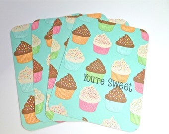 Cupcake Card Set, Children's Thank You Notes, Sweet Note Set for Kids