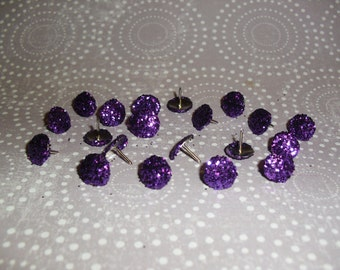 Glitter Thumb Tacks Purple Push Pins Set