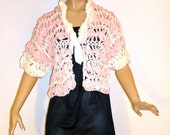 Crocheted Cropped,Short Sleeved, Pink and White Vintage Sweater-ON HOLD-HEARTGAYLE