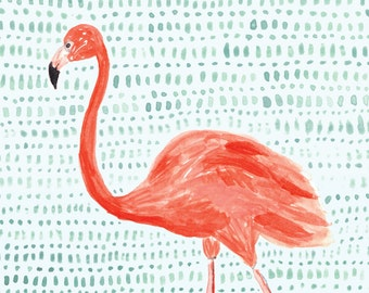 Flamingo Art Print - Crop Detail - 8 x 10